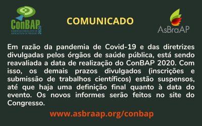 Reavaliação de data do evento – ConBAP 2020